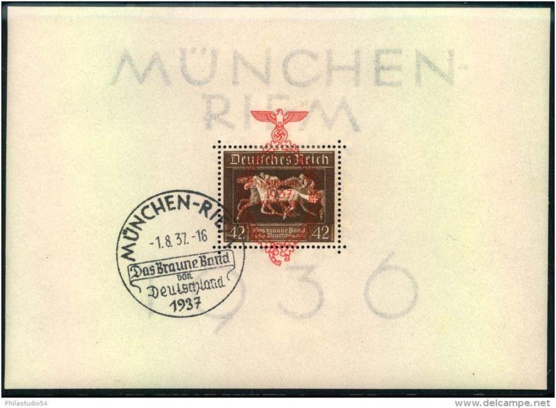 1937, Block Braunes Band 1936 mit Überdruck und Ersttags-Sonderstempel MÜNCHEN-RIEM 1.8.37 (FDC 550,-)
