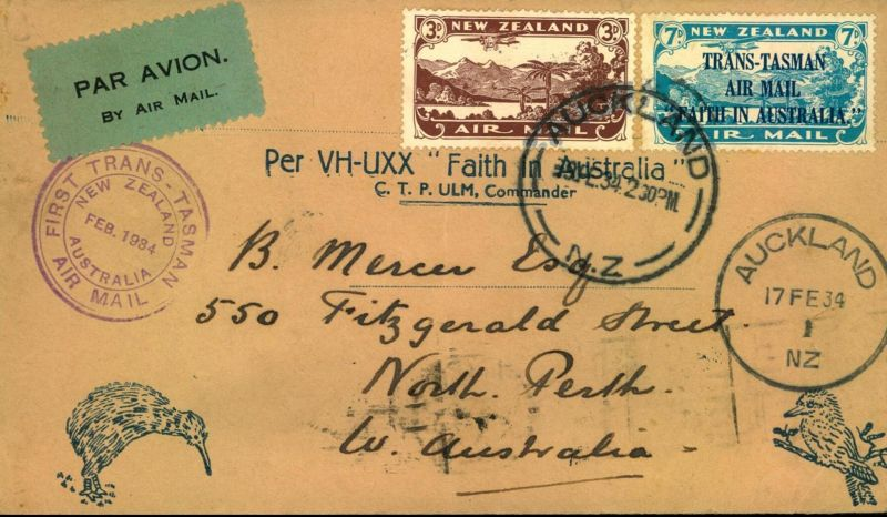 1934: First TRANS-TASMAN AIRMAIL Auckland-North Perth with arrival on reverse and special flight cachet on front.