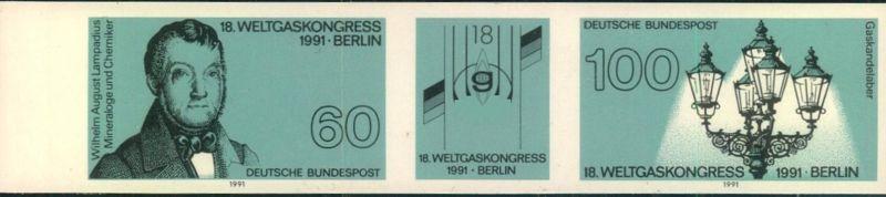 1991, WELTGASKONGRESS postfrischer Zusammendruck ungezähnt. Mi-Nr. 1537/38 U