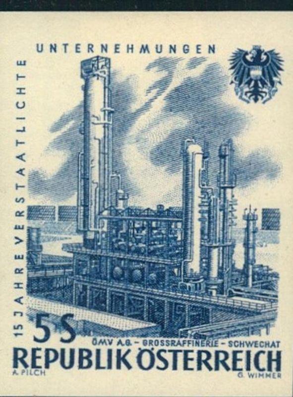 ÖL, OIL: 1961, 5 Sch. Raffinerie Schwechat ungezähnt mit sauberen Erstfalz. Mi-Nr. 1096 U