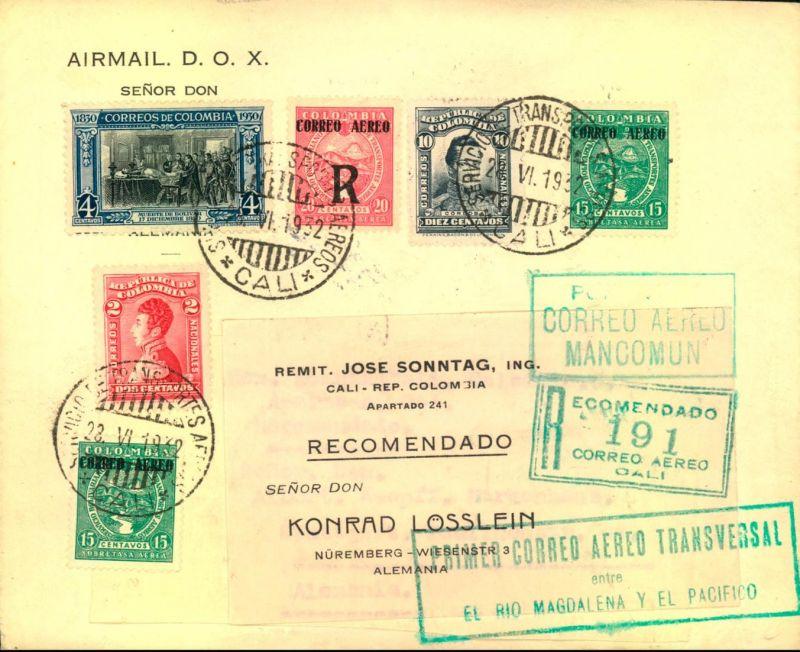 1932: Luftpostbrief mit Scadta und Freimarken MiF ab CALI über Barranquilla, Miami, New York nach Nürnberg