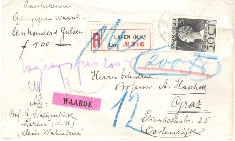 1923, Wertbrief mit EF 50 Cent Wilhelmina mit diversen Vermerken nach Graz (Österreich).