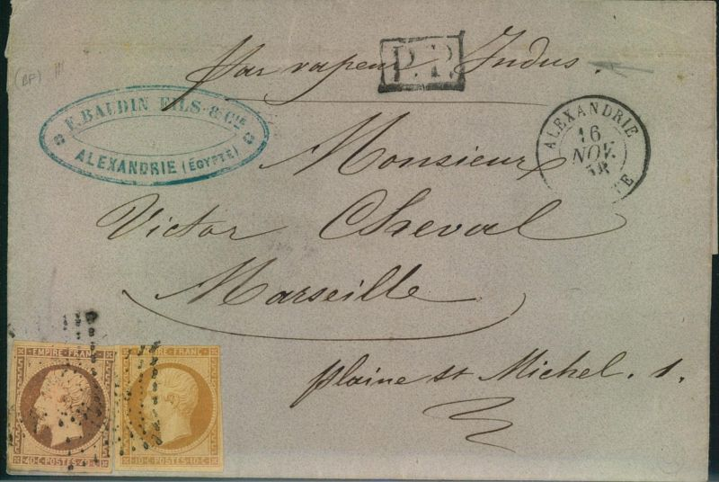 1858, ALEXANRIA, folded letter with 10 and 40 Cent. Napoleon III nach Marseille