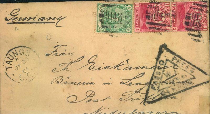 1901, INCOMING MAIL  von TAUNG, Cape of Good Hope zur Zeit des Burenkrieges mit Zensur nach Triftern