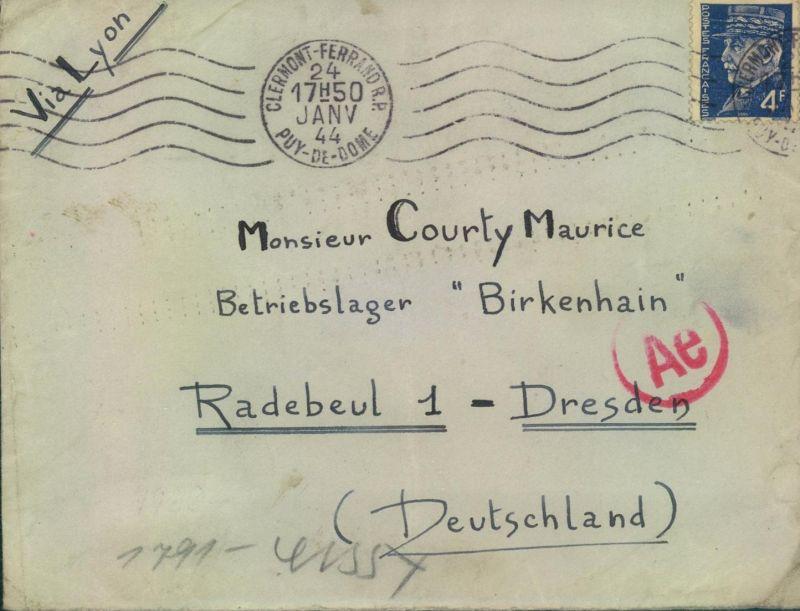 1944, Post aus Frankreich in das Zwangsarbeiterlager