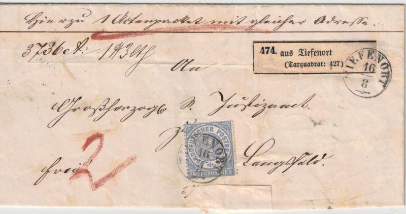 1871, Faltbriefhülle für eine Paket ab TIEFENOPRT nach Stadtlengsfeld