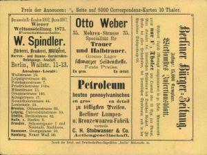 1874, Annoncenkarte DRUCKSCHRIFTEN-EXPEDITION BERLIN, gebraucht - selten