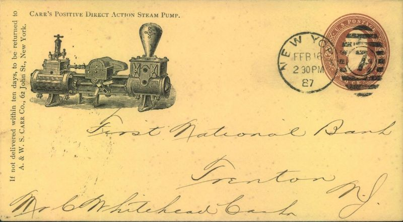 1887, beautiful stat. envelope advertising steam pump sent with NEW YORK Duplex