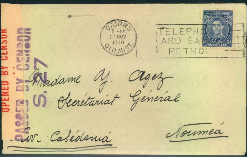 1940, letter from CAIRNS to Noumeá, NOUVELLE CALEDONIE, with scarce Cairns censor