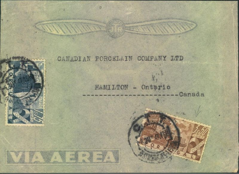 1947, air mail letter from PORTO to Hamilton, Canada