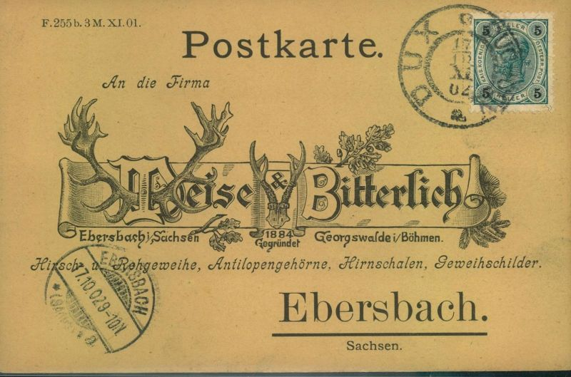 1902, dekorative Antwortkarte von Dux nach Ebersbach/Sachsen.