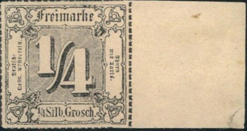 1862, 1/4 Sgr. schwarz vom rechten Rand postfrisch (Mi-Nr. 26), Luxus