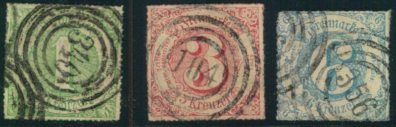 1865, 1,3 und 6 Kreuzer farbig durchstochen (Mi-Nr. 51-53)