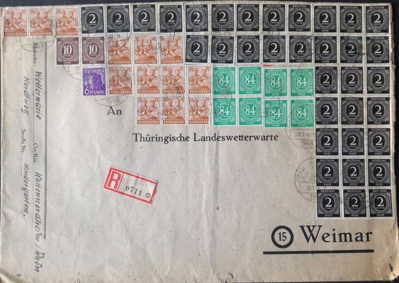 1948, unglaubliche 10-fach-Frankatur mit 59 Marken 1080 RPf = 1,08 DM - Bedarf von KALTENNORDHEIM