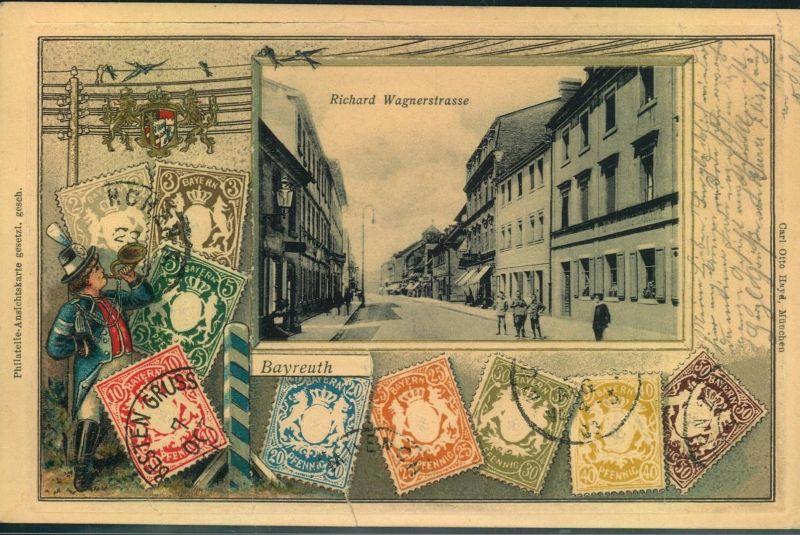 BAYREUTH, Wagnerstrasse mit Briefmarken-Darstellungen gelaufen 1904