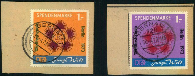 1973, beide Spendenmarken glasklar gestempelt