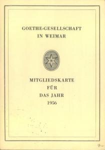 GOETHE, 1956, Mitgliedkarte