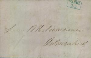 1855, Faltbrief von VAREL nach Delemnhorst
