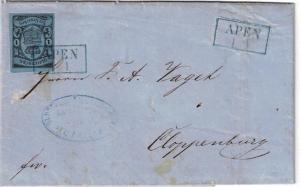 1862,1 Groschen Wappen voll- bis breitrandig auf Faltbrief ab APEN