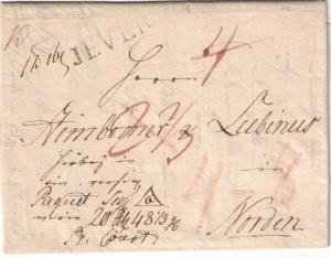 1824, Falbrief von JEVER nach Norden