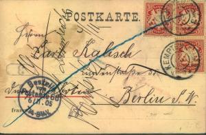 1905, Eilbotenkarte mit 3-mal 10 Pfg. Wappen ab