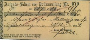 1884, Aufgab-SChein über eine Post-Anweisung ab FLADUNGEN