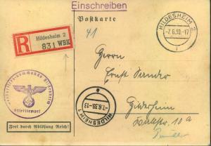 1939, R-Karte Wehrbezirkskommandot HILDESHEIM Einberufeung zur Übung Juni 1939