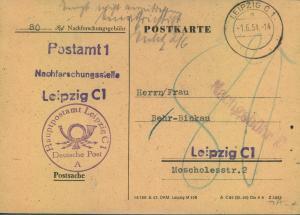 1954, 80 Pfg. Nachforschunsgebühr für Postanweisung erhoben mit Postsache von LEIPZIG C 1