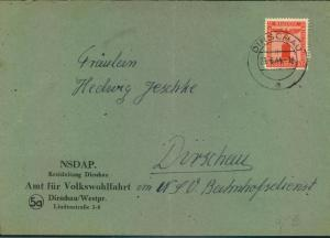 1944, Dienstbrief v. NSDAP Amt f. Volkswohlfahrt, (5a) DIRSCHAU im Ort