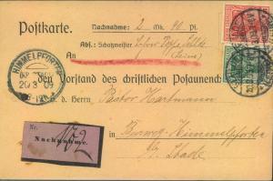 1090, Nachnahmekarte des CHRISTKICHEN POSAUNENCHORES, nach Himmelpforten