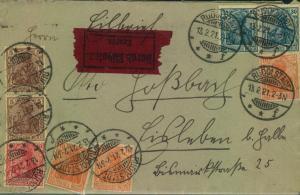 1921, Etlbotenbrief mit 4-Farben Germaniafrankatur ab RUDOLSTADT
