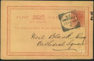 NEW ZEALAND, 1885. stationery card CHRISTCHURCH