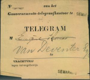 NETHERLANDS INDIA, telegram envelope SEMARANG