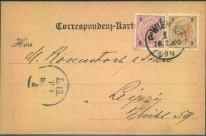 1900, Postkarte mit Währungsmischfrankatur 1 Heller-2 Kreuzer ab WIEN