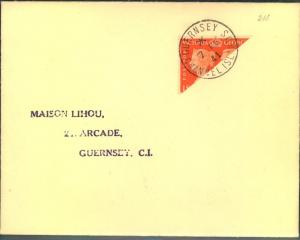 GUERNSEY GERMAN OCC., bisected  on cover