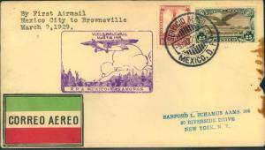 MEXICO, 1929: first flight MEXICO CITY - BRIWNSVILLE