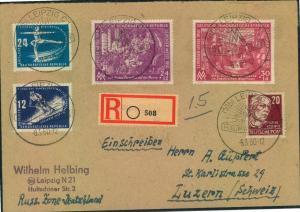 1950, portogerechtes, hoch frankiertes Auslandseinschreiben ab LEIPZIG in die Schweiz