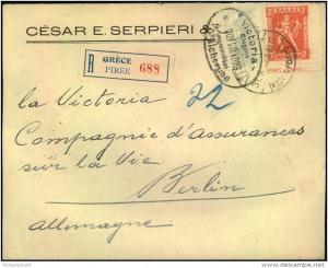 1923: Einschreiben ab PIRÄUS mit 2 Drachmen Hermes durchstochen aus der rechten unteren Bogenecke nach Berlin.