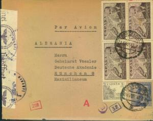 1942, airmail with German and Spanish censor.