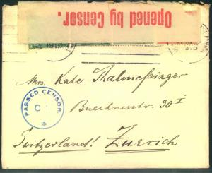 1915, envelope with CAPETOWN censor to Switzerland