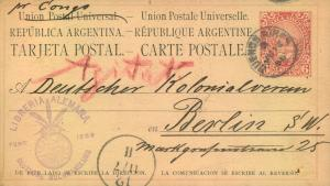 1886, 6 C. stationery card from BUENOS AIRES