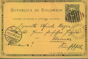 1895, 2 C. stationery card with duplex cancellation of COLON sent to Weinar