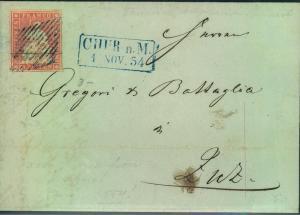 1854, 15 Rp Strubel karminrosa, Münchener Fruck auf Faltbrief ab CHUR (Michel 15 Ib, Zumstein 24 A)