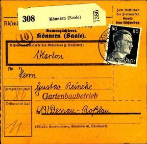 1944, 80 Pfg. Hitler auf Paketkarte ab KÖNNERN (SAALE)