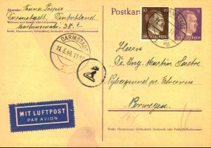 1944, 6 Pfg. Ganzsachenkarte mit 10 Pfg. Hitler ab DARMSTADT zum Europaporto per Luftpost nach Norwegen.