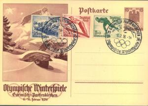 1936, Special stat. cards with complete set and special cancellation