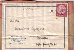 Warenprobe Adresse 15 Pfg. Hindenburg mit L1 LUDWIGSBURG