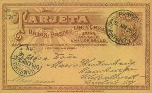 1898, URUGUAY stationery cardr MOTEVIDEO-HAMBURG - see scan