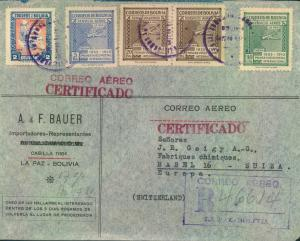 1946, BOLVIA, registered letter to Basel - see scan