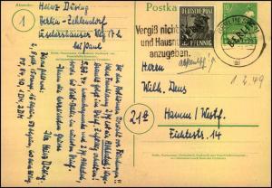 10 Pfg. Schwarzaufdruck Ganzsachenkarte mit 2 Pfg. Zusatzfrankatur ab BERLIN SW 11 ai 2.2.49 nach Hamm/Westfalen. (Miche
